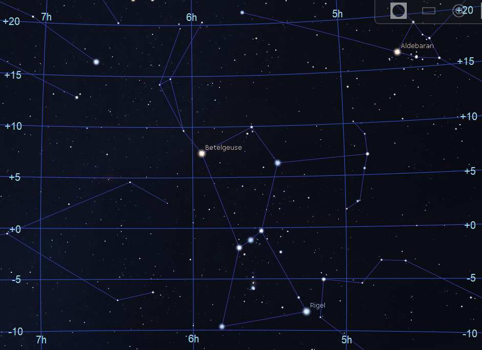 Area around the constellation Orion - Stellarium