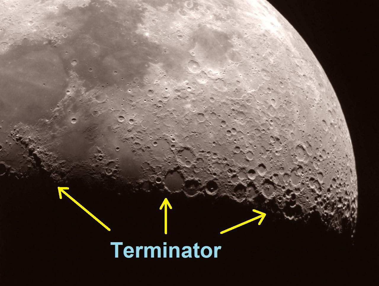 Moon Terminator. Milwaukee Astronomical Society image
