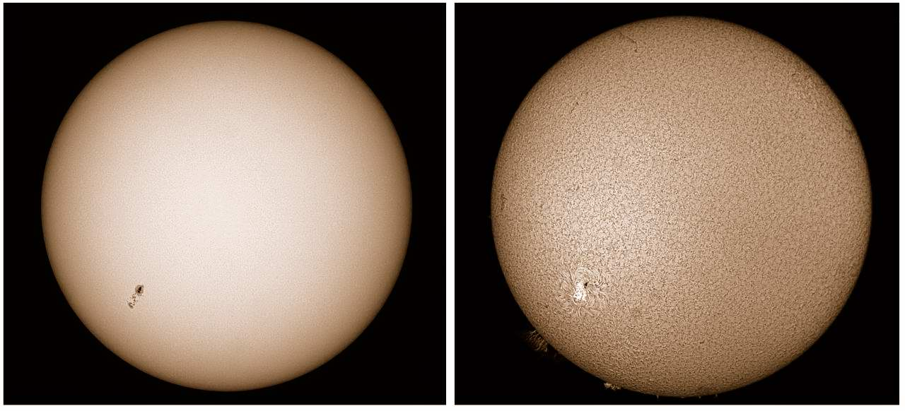 The Sun simultaneously in whitelight and Hydrogen Alpha. MAS image.