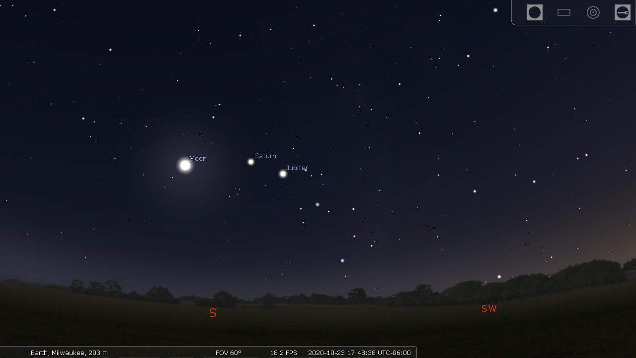 Planets in the Stellarium sky - Stellarium