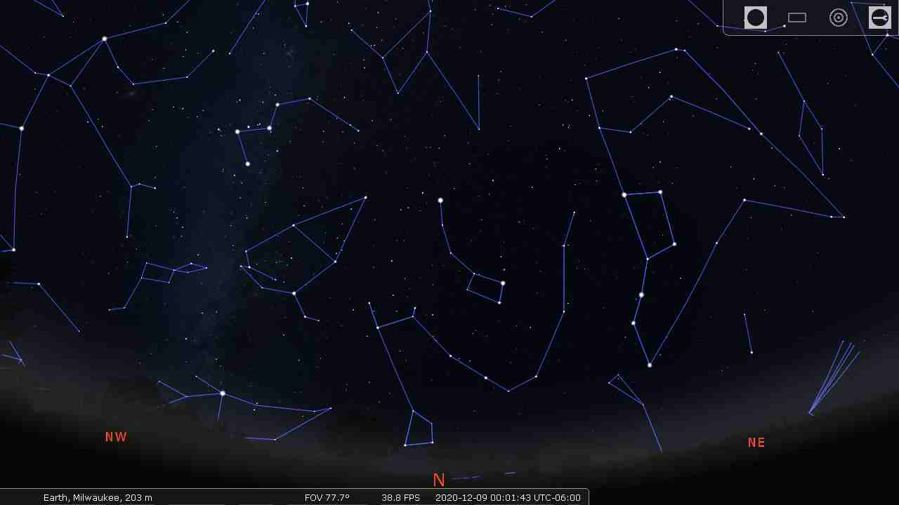 Northern sky using the HA Rey constellation lines. - Stellarium