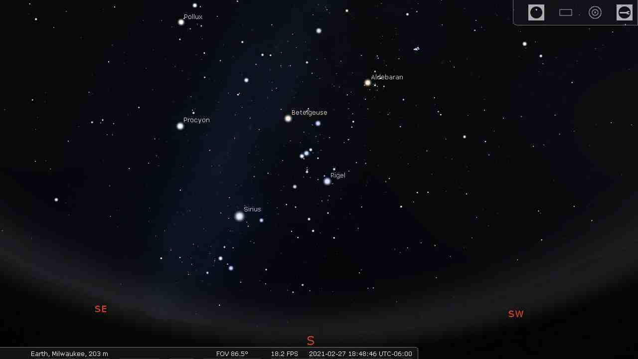 Sky with the brightest stars labeled - Stellarium