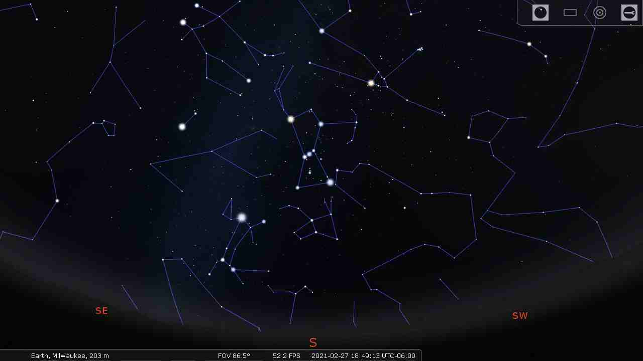 Sky with the constellation lines - Stellarium