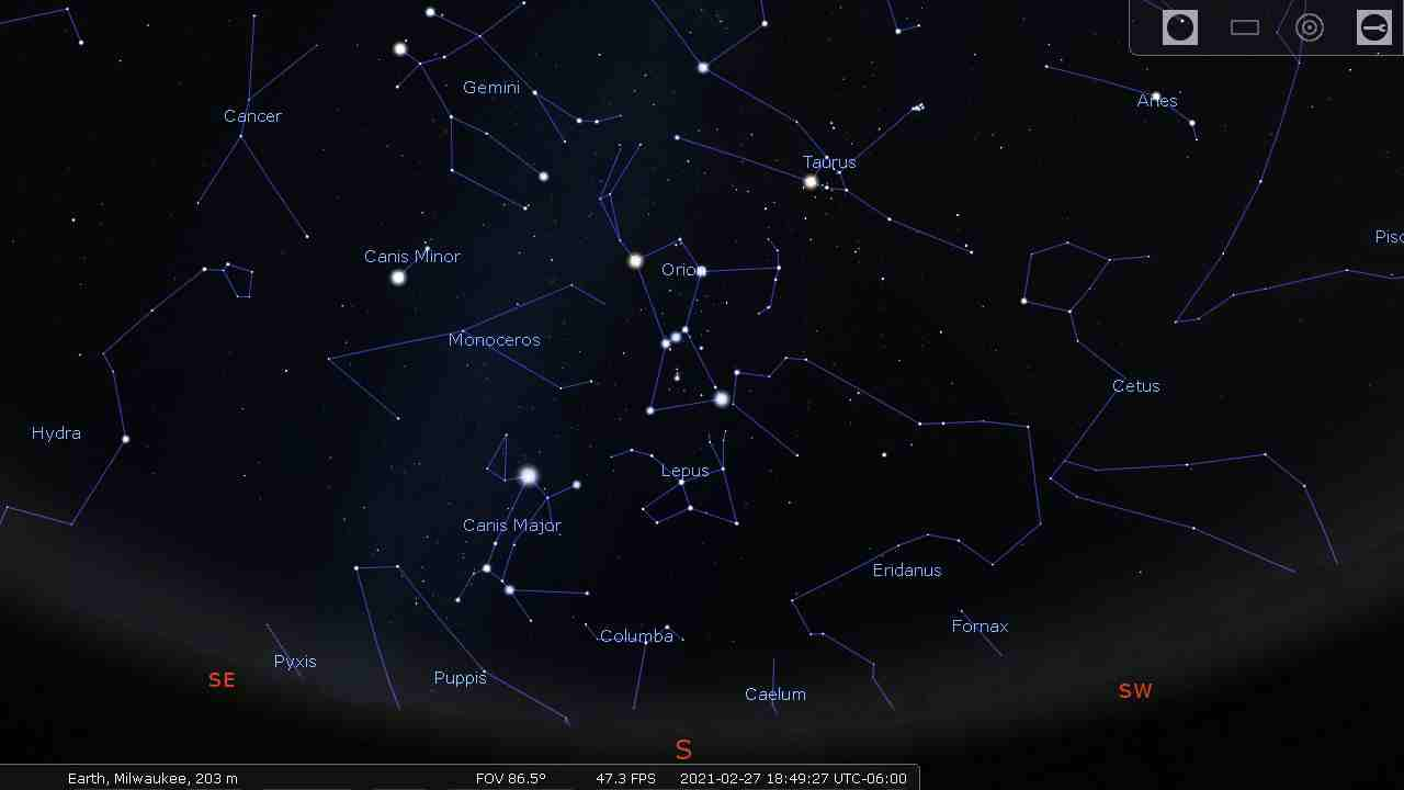 Sky with constellation lines and constellation labels - Stellarium