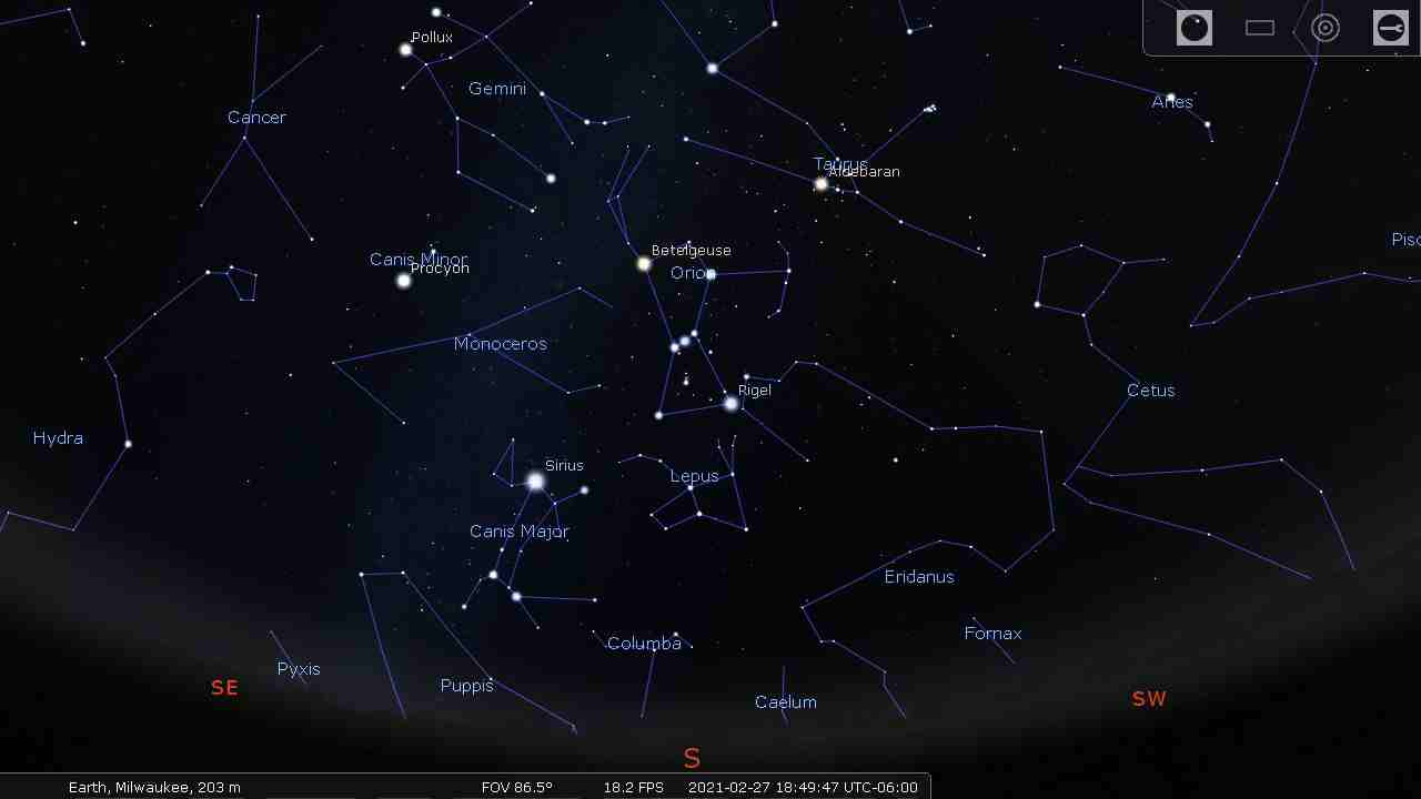 Sky with the brightest stars, constellation lines, and constellation labels - Stellarium